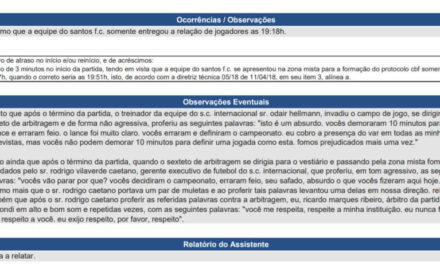 Árbitro de Inter x Santos cita Odair e Rodrigo Caetano na súmula
