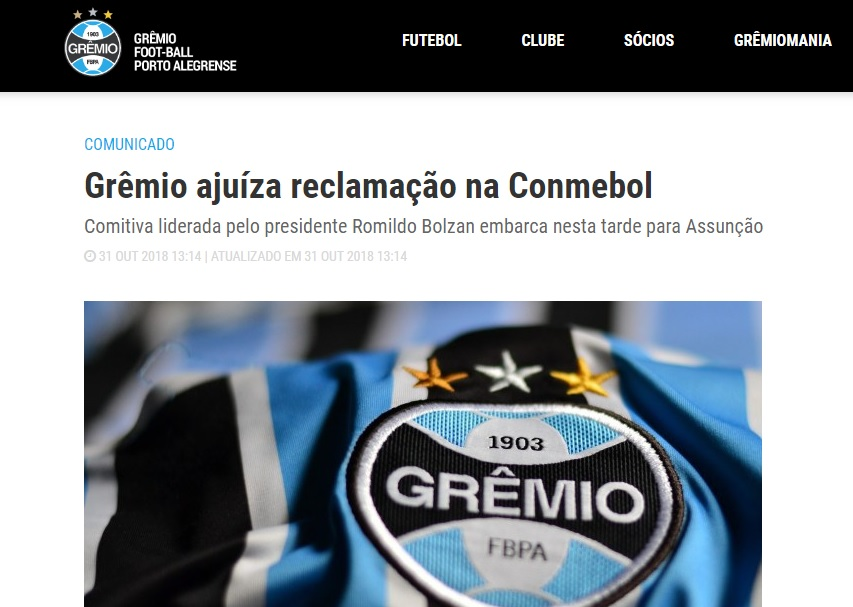 ff0928fb47 Grêmio encaminha reclamação à Conmebol - RDCTV - Rede Digital de ...