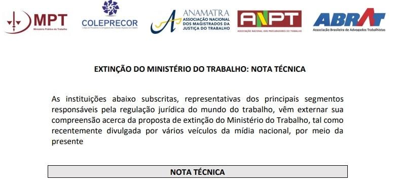 MPT e mais quatro entidades emitem nota técnica posicionando-se contra extinção do Ministério do Trabalho